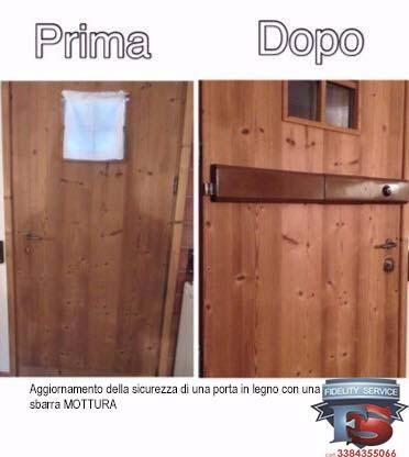 aggiornamento della sicurezza di una porta in legno