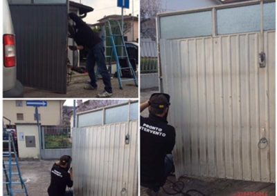 riparazione porta garage con saldatura